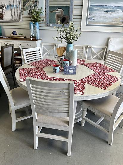 "Round whitewash dining table 63"""