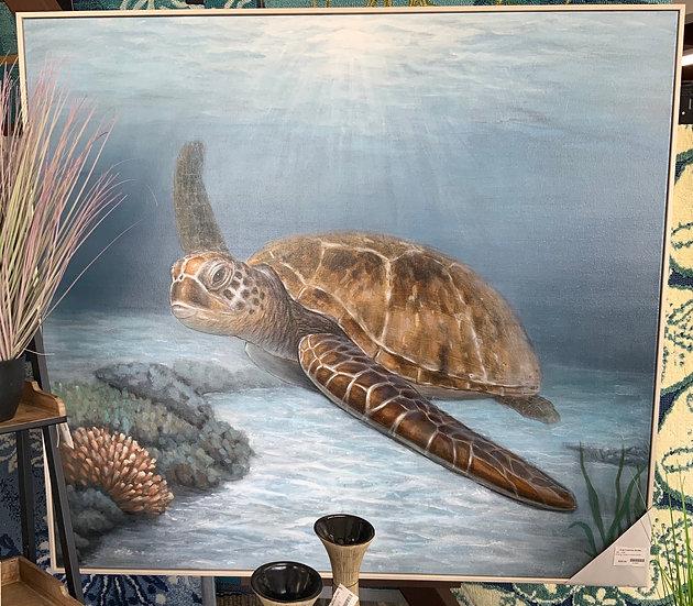 Cruising turtle on wood