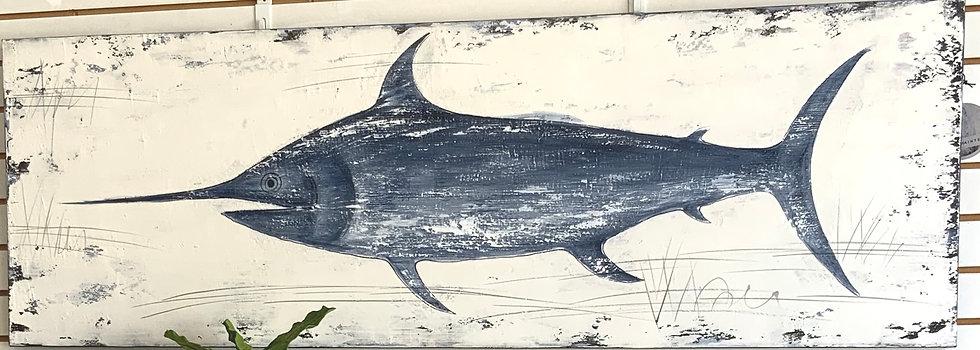 Rustic swordfish oil painting