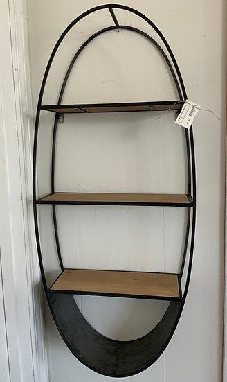 Oval wood/metal shelf