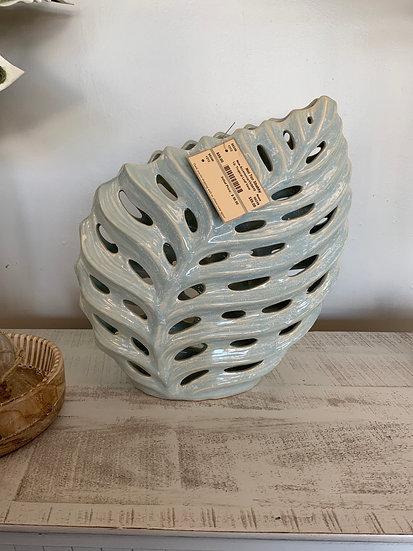 Lg tropical leaf vase