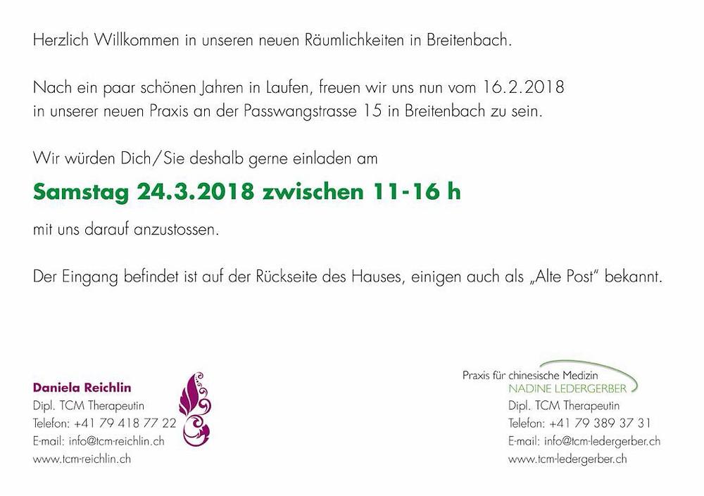 Praxisapéro, Daniela Reichlin, Nadine Ledergerber, TCM, Passwangstrasse 15, Breitenbach