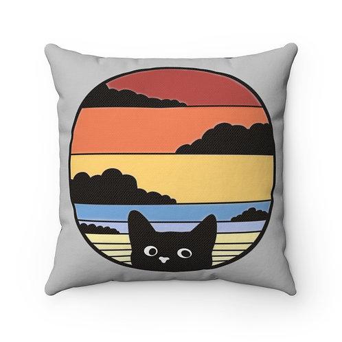Black Cat Retro Sunset,retro Pillow cover,vintage,cat decor,cat lover gift