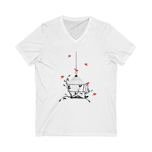 Cardinal birdcage, hand drawn art Tee,inspirational shirt, springtime shirt