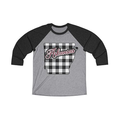 Arkansas Plaid 3/4 Sleeve Raglan Shirt , Black Red Plaid Baseball Tee