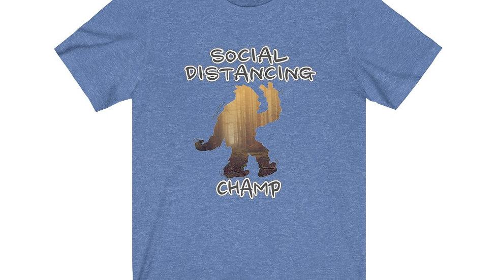 Social Distancing Champ, Big Foot Funny Tee, Unisex Jersey Short Sleeve Tee