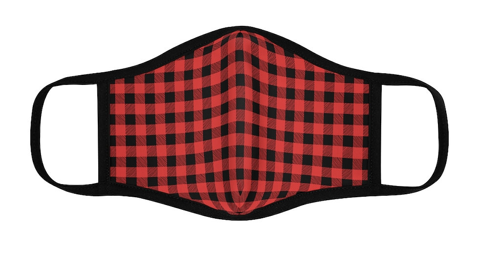 Red/Black Buffalo Plaid Fitted Polyester Face Mask