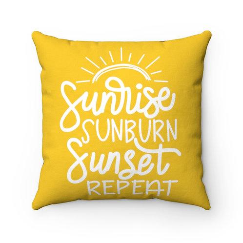 Sunrise, Sunburn, Sunset, Repeat, Hello Summer decor, Vacation Pillow cover