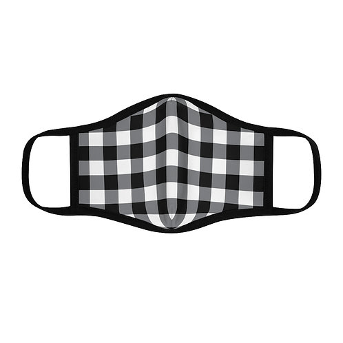 Black/White Buffalo Plaid Fitted Polyester Face Mask