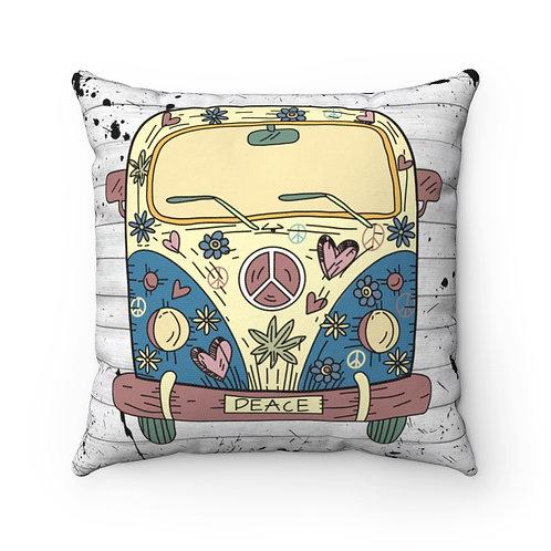 Retro pillow cover, Peace decor, 70s pillow cover, Hippie VW BUS