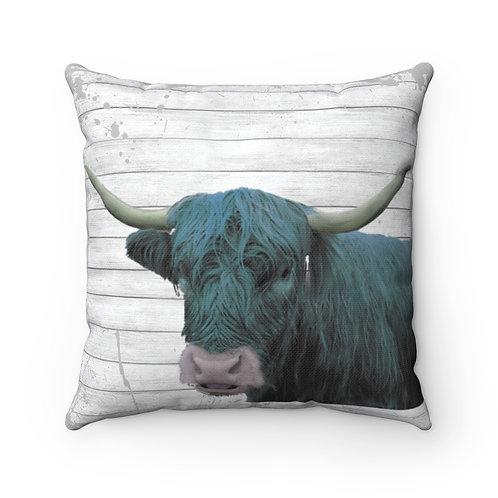 Highland Cow in Turquoise, Modern Farmhouse, Cow decor,farm gifts, cow cushions
