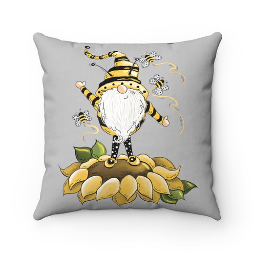 Summer Pillow cover,sunflower Decor, bee kind Pillow, bumble bee Gnomes