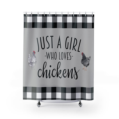 Farmhouse Chickens, Buffalo Plaid curtain, Just a Girl, Who Loves Chickens