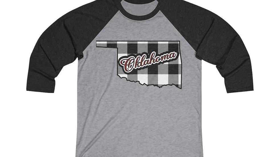 Oklahoma Plaid, Plaid Raglan Shirt , Plaid Baseball Tee