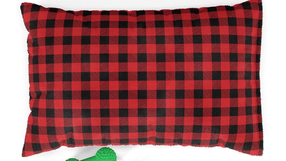 Farmhouse Dog Bed, buffalo plaid Pet Bed