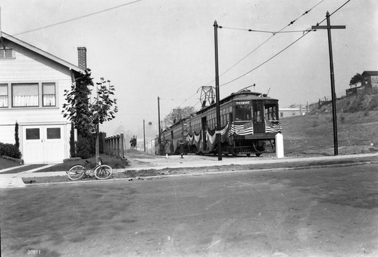 Key - 669 Piedmont train on Oakland Ave with flags on it extension opening Nov 2 1924 - 11