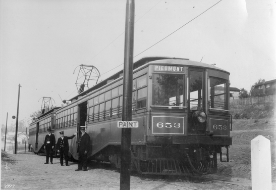 Key - Piedmont train no. 653 with pole and paint sign in front of the train - 20517ks.tif
