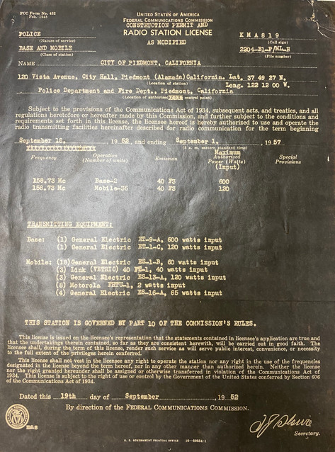 Radio station license 1957