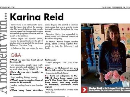 Karina Reid - Interview with Richmond News