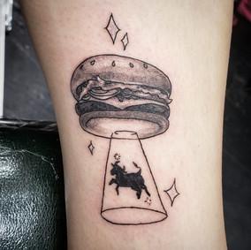 Ufo burger tattoo