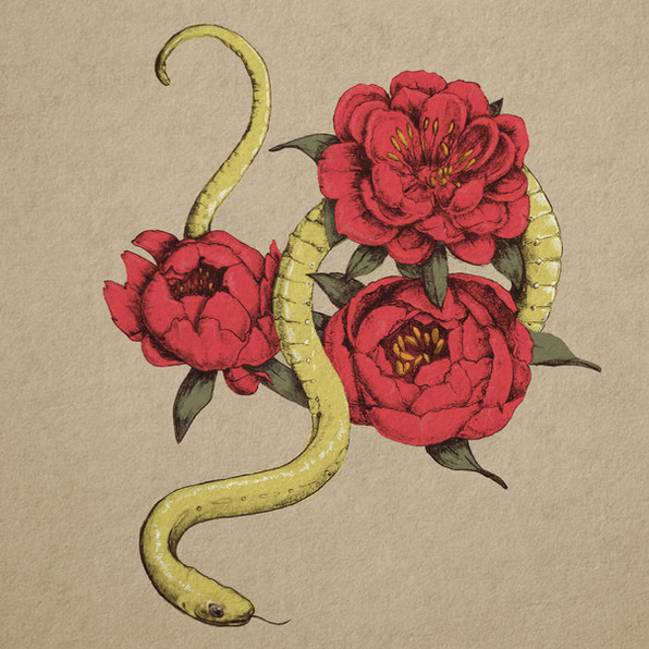 Snake in the flowers