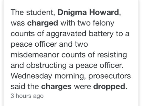 TOLJL defends 16yr old IEP student Dnigma Howard who wasbrutalized by Chicago Police. All charges d