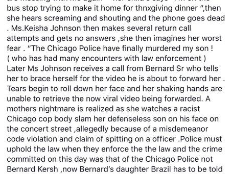 29yr old schizophrenic black manBernard Kersh brutally body slammed by chicago police .