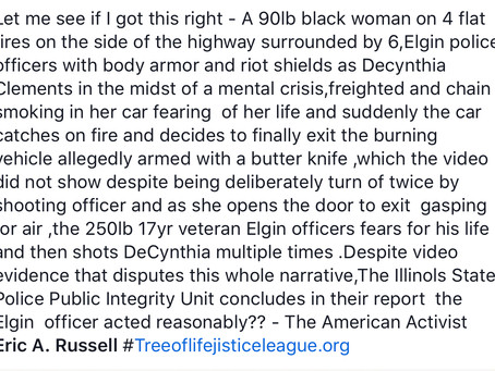 A lie from the pits of hell as told by a racist killer Elgin IL police officer.