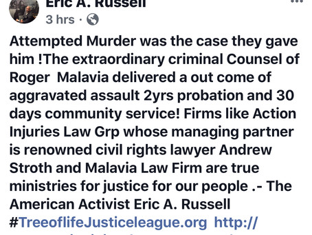 Tree of Life Justice League,Criminal Atty Roger Malavia delivers great outcome.