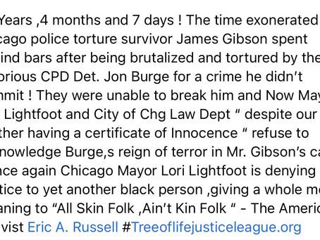 "Chg Mayor Lori Lightfoot refuses to acknowledge Jon Burge "" reign of terror"" in James Gibson case"