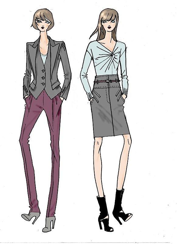 Fashion duo illustration by Robert Inestroza
