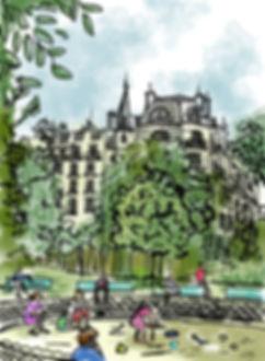 Illustration of Paris by Robert Inestroza