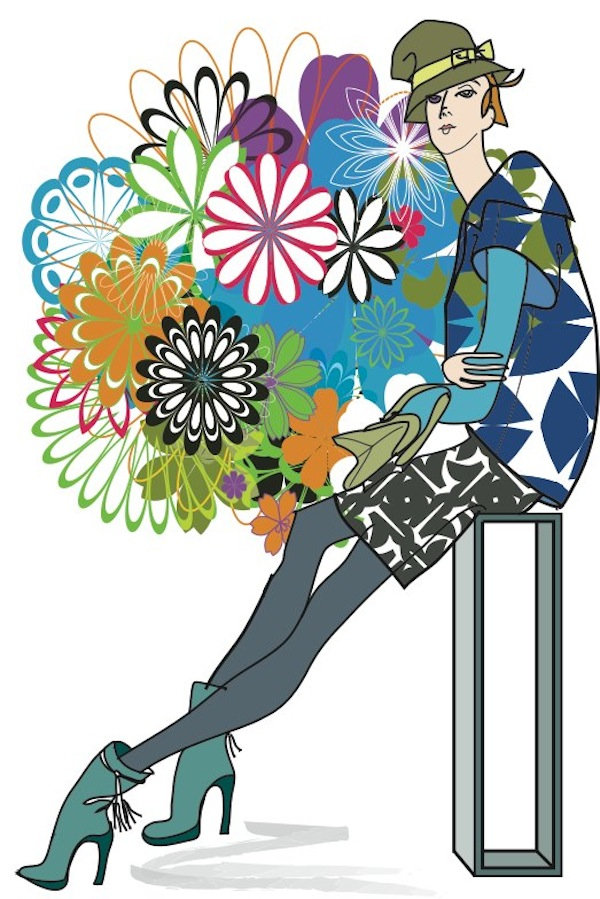 Floral fashion illustration by Robert Inestroza
