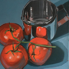 Tomatoes and metal jug