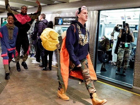 Jeremy Scott's Moschino Fashion Show Takes Over New York City Subway