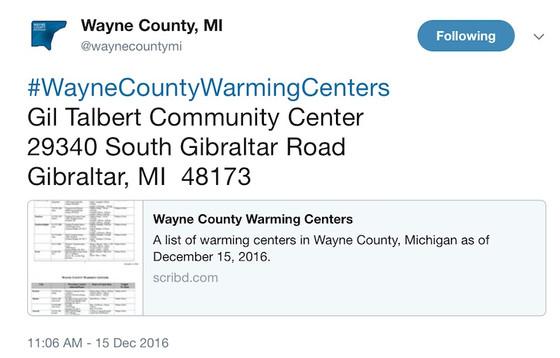 #WayneCountyWarmingCenters Hashtag