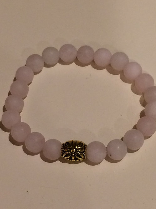 Rose Quartz with Gold Tone bead