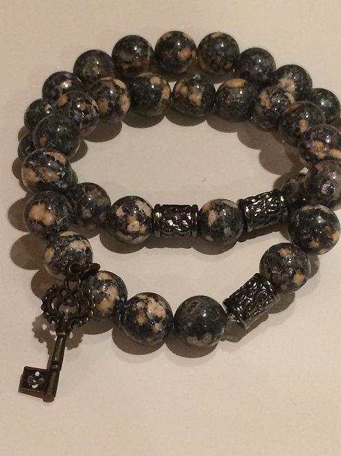 Leopard Skin Bracelet with Antiqued Beads