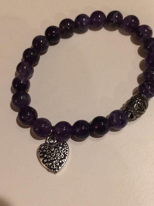 Amethyst Bracelet with Silver Tone Bead