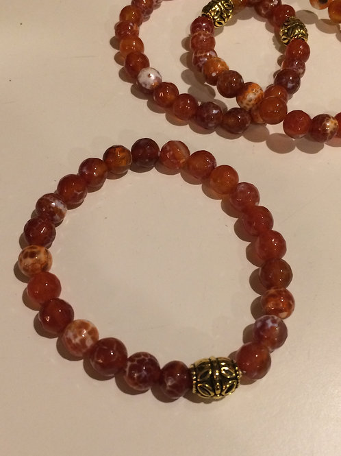 Fire Agate Bracelet 8 mm beads and Gold Tone bead