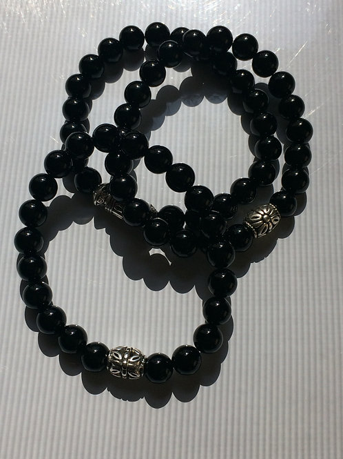 Black Onyx 8 mm round beads with Silver tone Bead