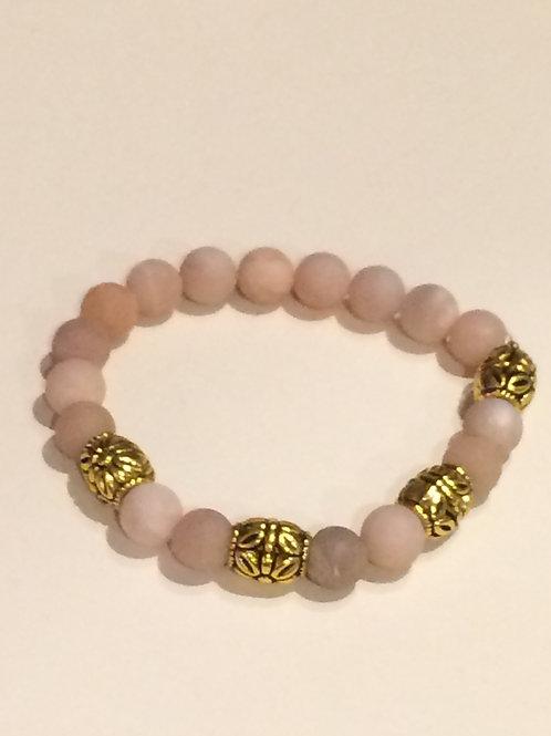 Peach Moonstone 8 mm round Gold Tone bead