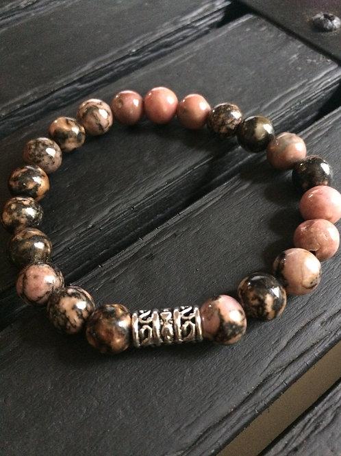 Rhodonite with extra black matrix bracelets