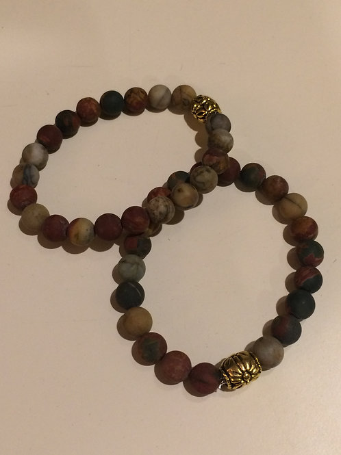 Jasper 8 mm with Brass Toned Bead