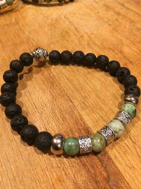 Men's Lava Stone with African Turquoise