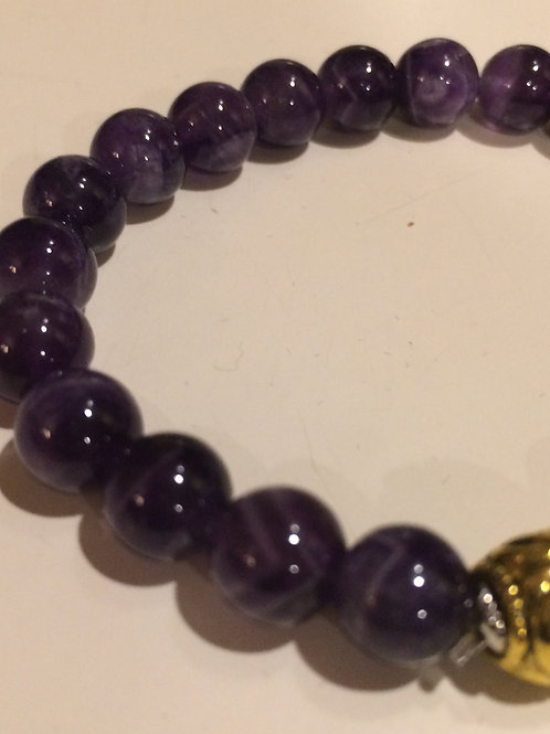 Amethyst Bracelet with Gold Tone Bead