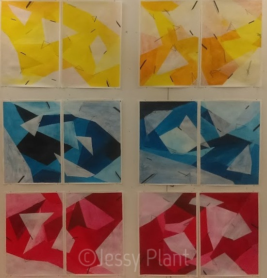 Primary colour paintings, yellow, blue, red. Hard edge, triangles