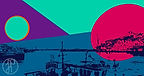 Cool blue colours and geometric shapes, harbour silhouette