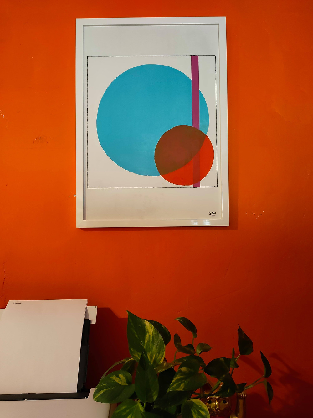 Abstract, bold, orange, blue, pink, home office space