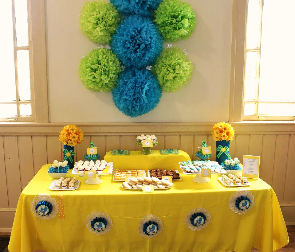 Yellow, Green and Blue Dessert Table